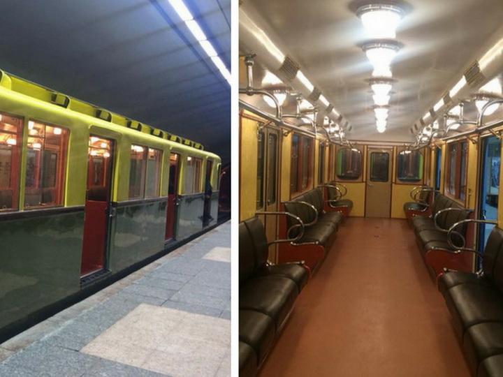 В Бакинском метрополитене появились ретро-поезда - ФОТО