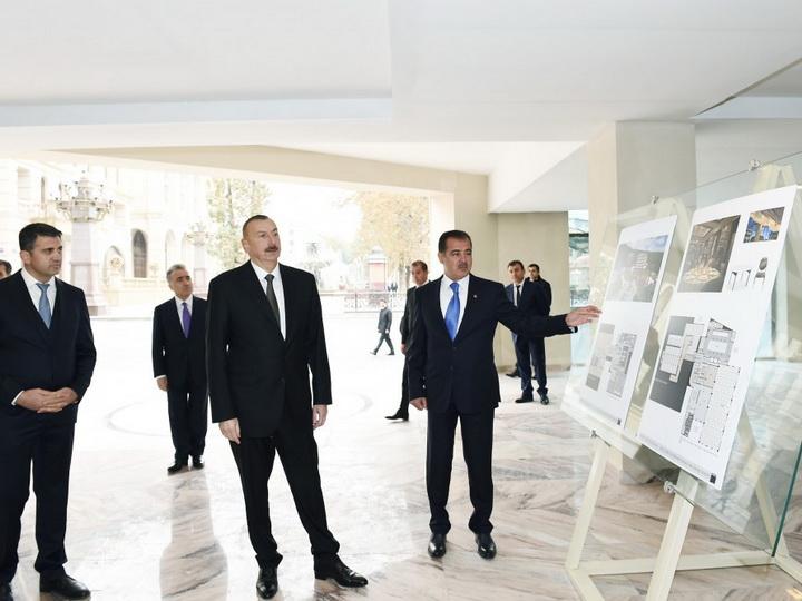 Президент Азербайджана ознакомился со строительством отеля Majestic Palace в Гяндже - ФОТО