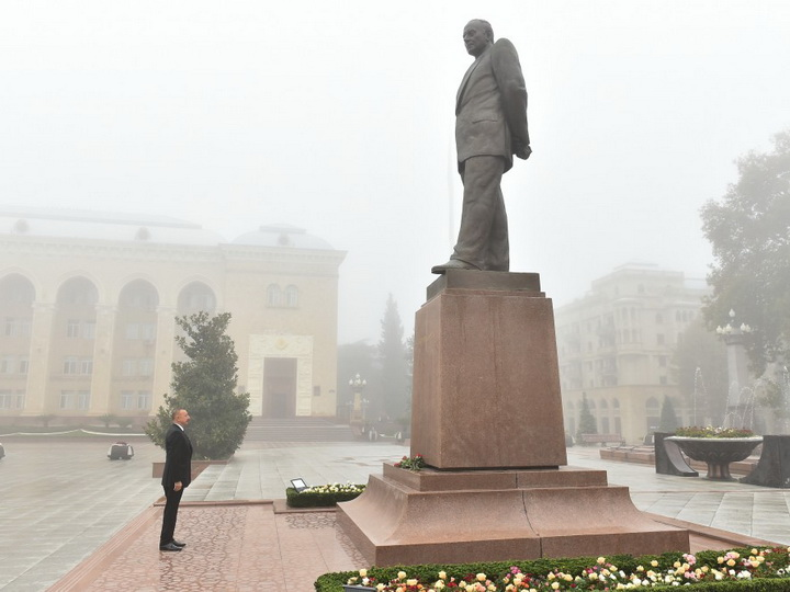 Президент Ильхам Алиев прибыл в город Гянджа – ФОТО