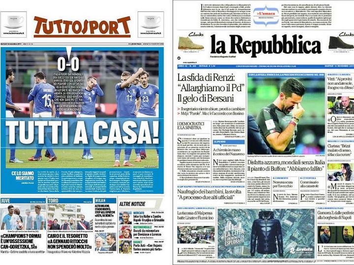 «Смерть на Сан-Сиро», «Можем сидеть дома!»: как итальянские СМИ раскритиковали свою сборную по футболу - ФОТО