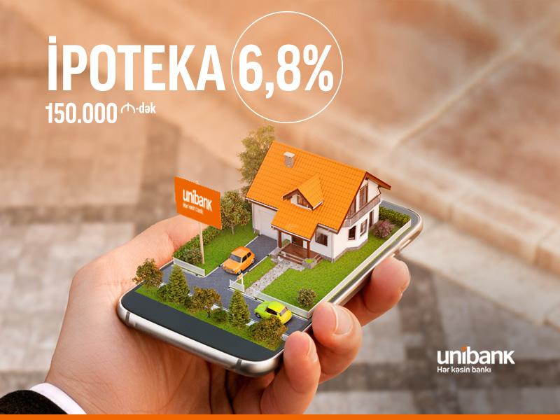 Unibank ipoteka faizlərini 6,8%-ə endirdi