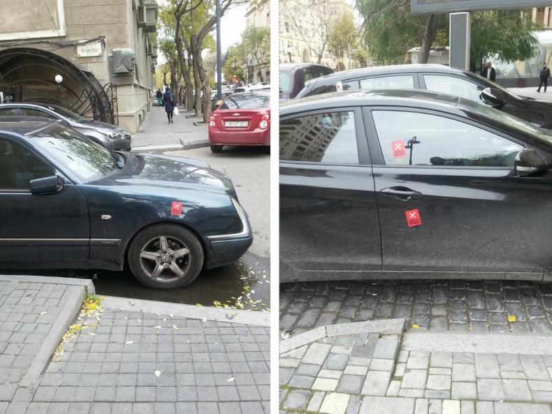 «СтопХам» по-бакински: активист борется с неправильной парковкой «вежливой свастикой» - ФОТО