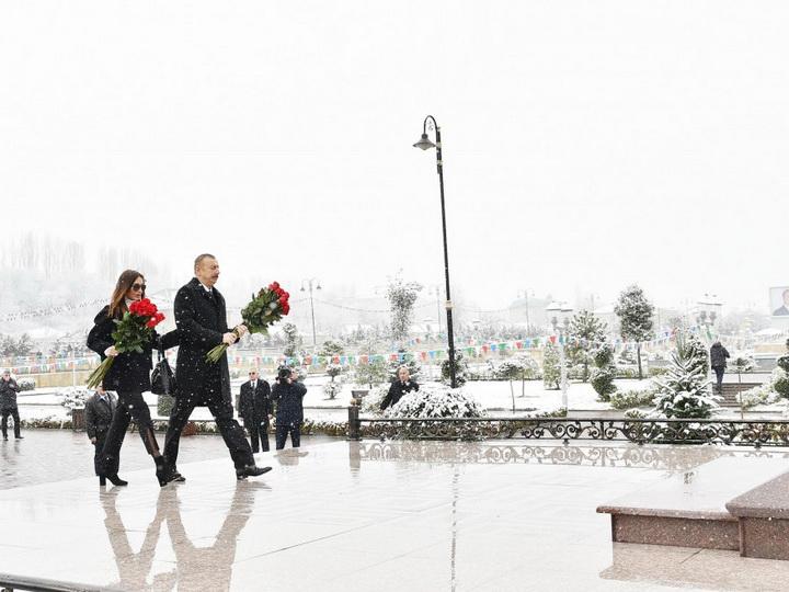 Президент Ильхам Алиев прибыл в Губинский район - ФОТО