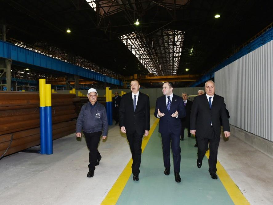 Ильхам Алиев открыл в Сумгайыте трубопрокатный завод ООО Baku Steel Company после реконструкции - ФОТО