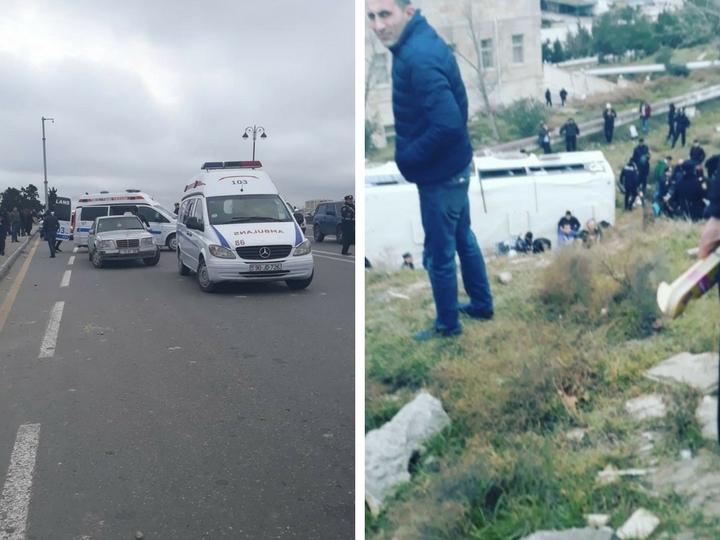 Встолице Азербайджана пассажирский автобус слетел сдороги иупал насклон оврага