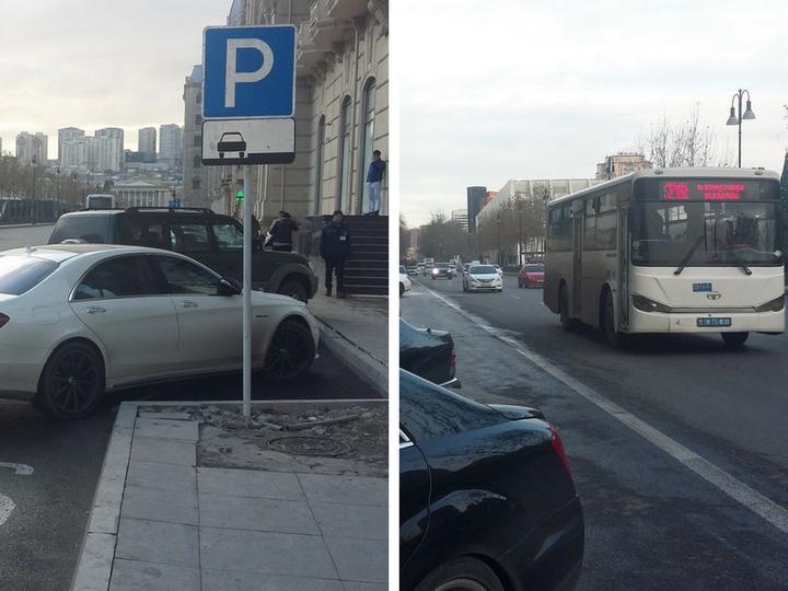 Одну из выделенных полос для автобусов в Баку превратили в платную парковку - ФОТО - КАРТА