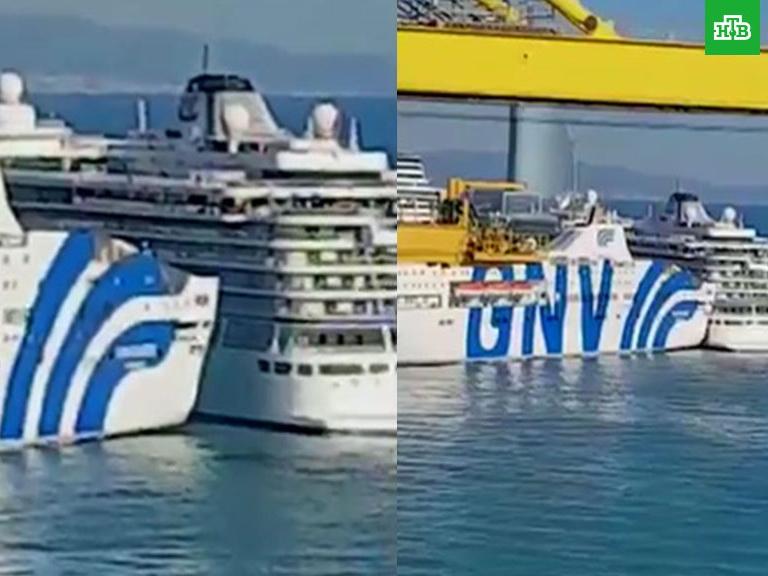 В порту Барселоны паром врезался в круизное судно - ВИДЕО