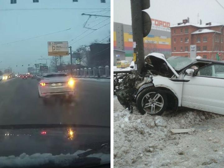В Москве девушка на Range Rover сбила пешехода и врезалась в столб - ФОТО - ВИДЕО