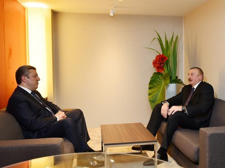Президент Ильхам Алиев встретился в Давосе с премьер-министром Грузии - ФОТО
