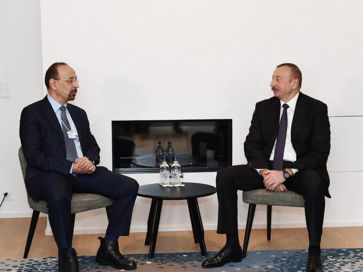 Ильхам Алиев встретился с министром энергетики, промышленности и природных ресурсов Саудовской Аравии - ФОТО