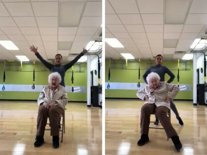 В Сети обсуждают хохочущую во время фитнеса 93-летнюю старушку – ВИДЕО