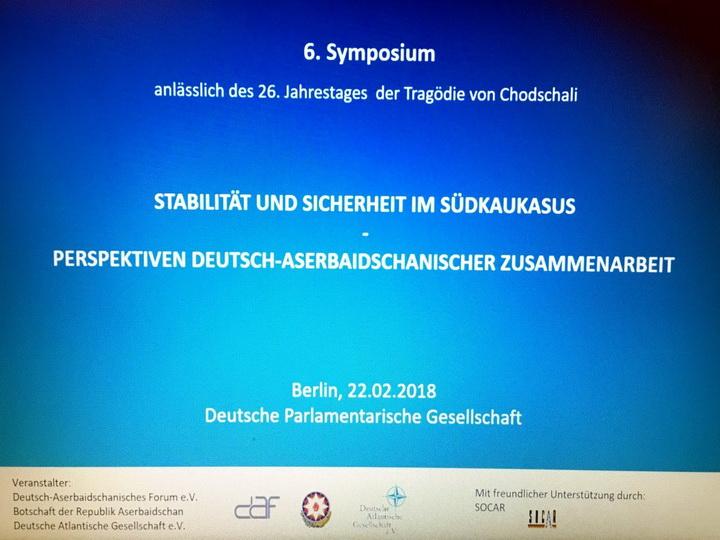 Berlində Xocalı soyqırımının 26-cı ildönümü ilə əlaqədar simpozium keçirilib - FOTO