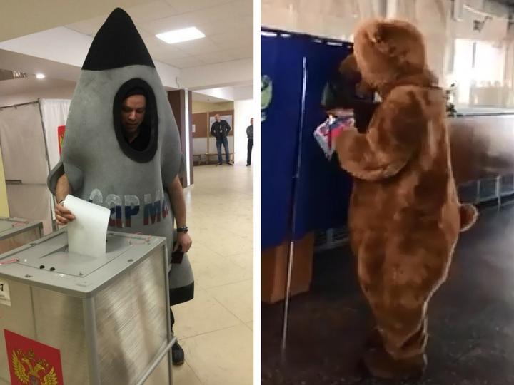 Человек-ракета, медведь и богатыри проголосовали на выборах президента России– ФОТО – ВИДЕО