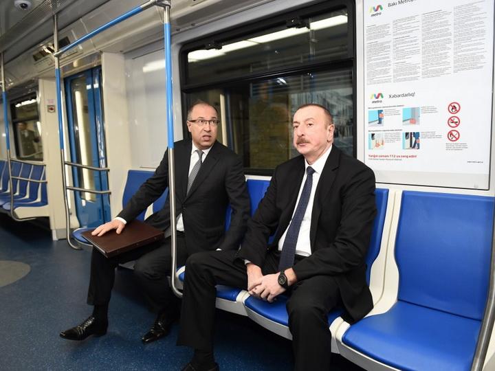 Ильхам Алиев ознакомился с доставленными в столицу новыми поездами метро - ФОТО