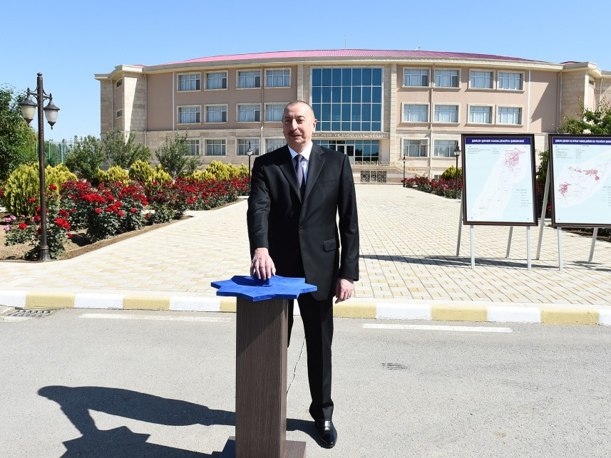 Ильхам Алиев принял участие в открытии первого этапа проекта реконструкции систем водоснабжения и канализации в Шаруре - ФОТО