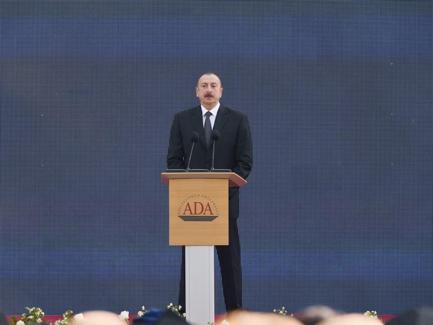 Президент Ильхам Алиев принял участие в дне выпускника в Университете АДА