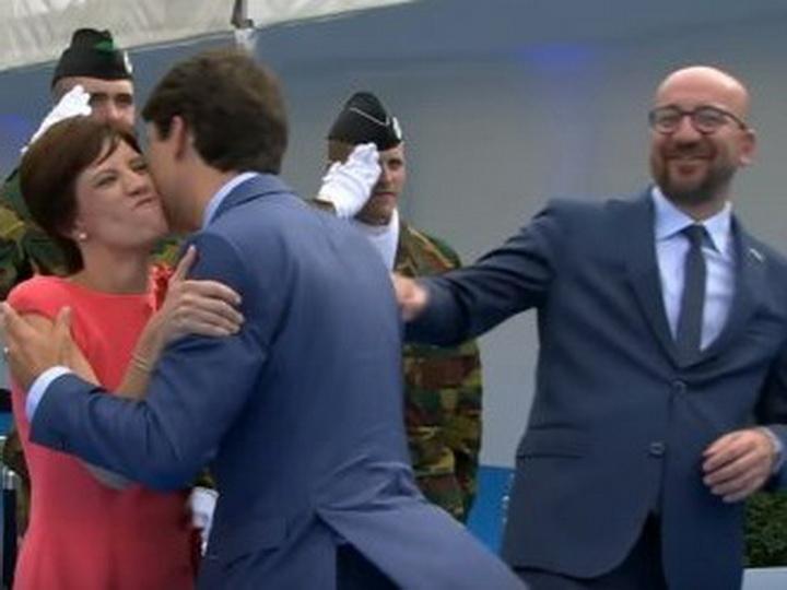 Канадский премьер польстился нажену бельгийского коллеги и стал ее целовать - ВИДЕО