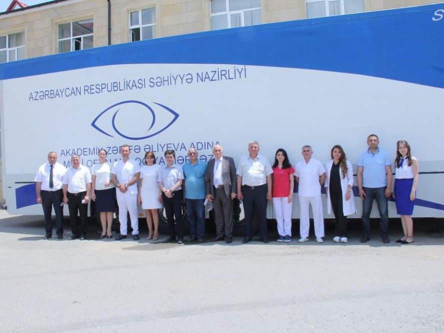 Мобильная клиника Национального центра офтальмологии обследовала около 400 жителей Гядабейского района