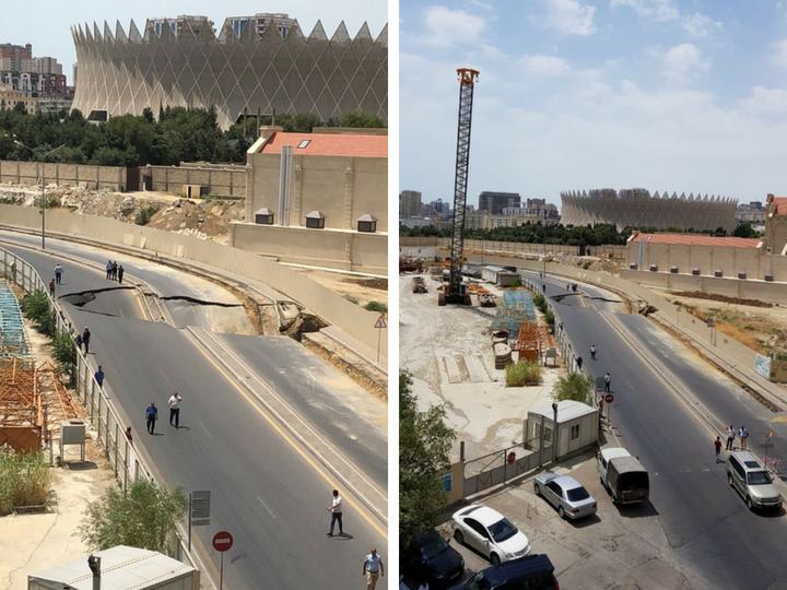 В центре Баку обрушилась дорога - ФОТО