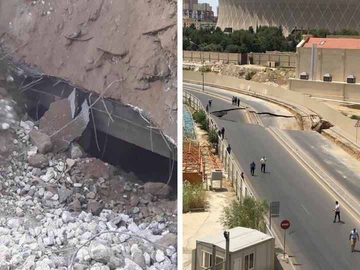 Названа причина обвала дороги на улице Джалила Мамедкулизаде – ФОТО - ОБНОВЛЕНО
