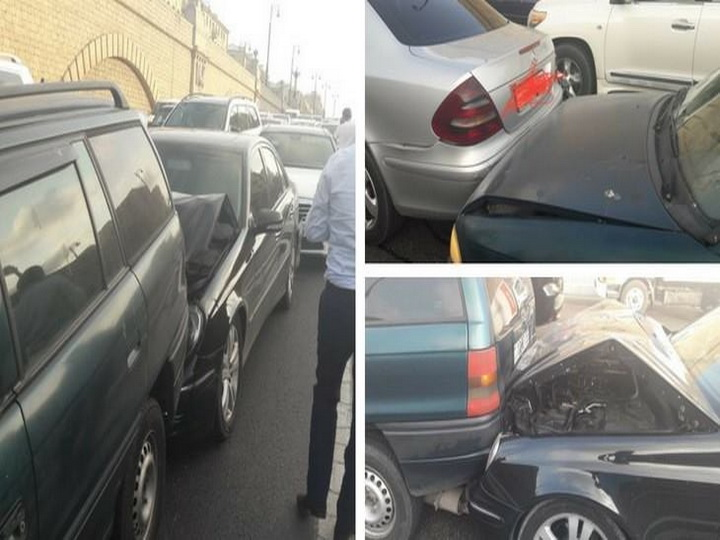 На проспекте Гейдара Алиева произошла цепная авария, старый Opel оказался крепче новых Mercedes – ФОТО