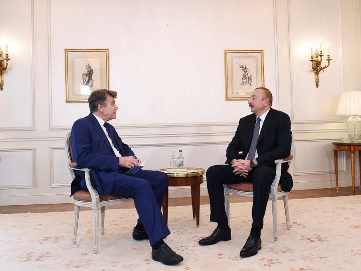 Президент Азербайджана встретился с исполнительным председателем Института международных отношений Франции - ФОТО