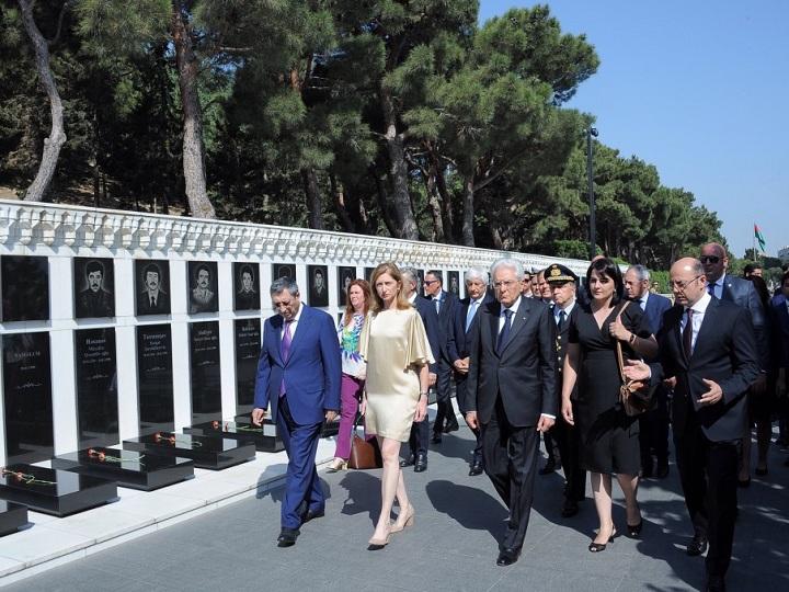 İtaliya Prezidenti Şəhidlər xiyabanını ziyarət edib – FOTO