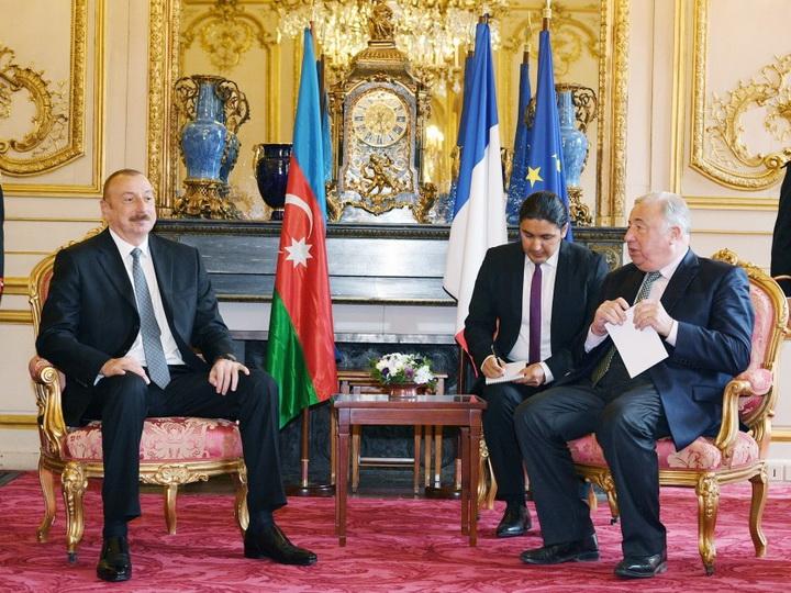 Azərbaycan Prezidenti İlham Əliyev Fransa Senatının sədri Jerar Larşe ilə görüşüb - FOTO
