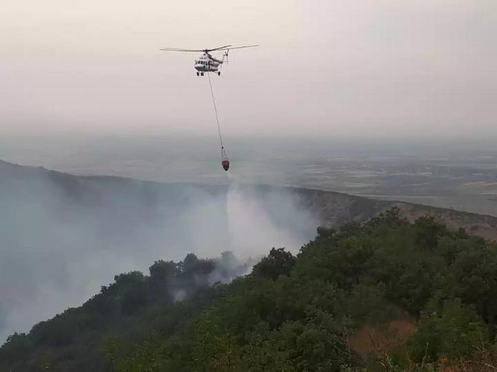 Вспыхнул пожар у высоковольтных линий электропередачи в Агсу – ФОТО