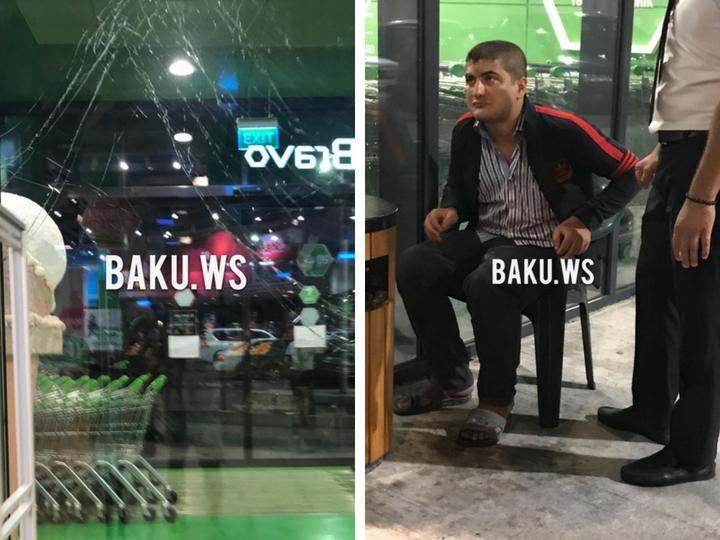 В Баку пьяный покупатель врезался в стеклянную дверь маркета – ФОТО