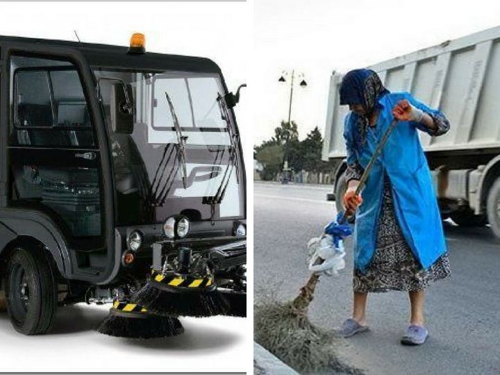 Уборщиц на бакинских дорогах заменит спецтехника - ФОТО