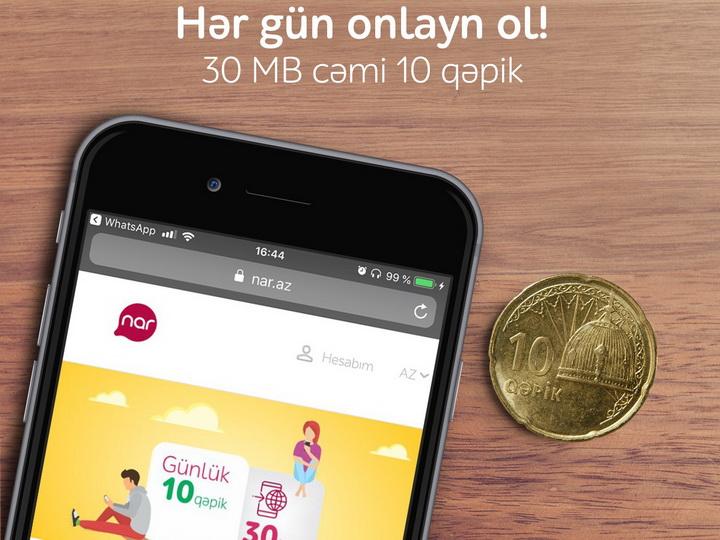 Nar предлагает ежедневный интернет-пакет за 10 гяпиков