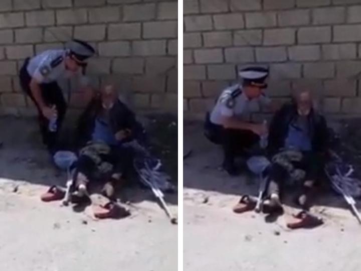 Азербайджанский полицейский напоил бездомного водой – ВИЕДО