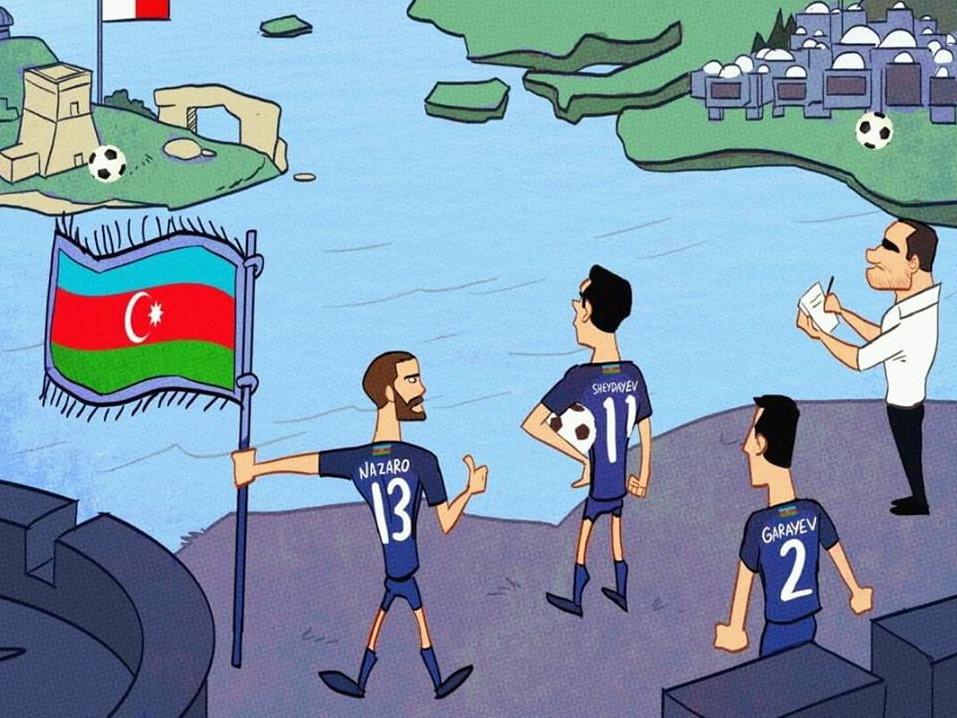 Омар Момани посвятил карикатуру выступлению Азербайджана в Лиге Наций – ФОТО
