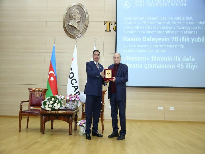 Bakı Ali Neft Məktəbində Rasim Balayevin 70 illik yubileyi qeyd edildi – FOTO