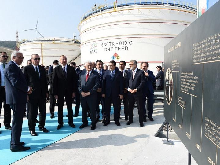 Президенты Азербайджана и Турции принимают участие в церемонии открытия нефтеперерабатывающего завода «Star» - ФОТО