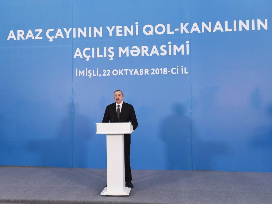 Президент Ильхам Алиев принял участие в открытии нового канала от реки Араз  - ФОТО