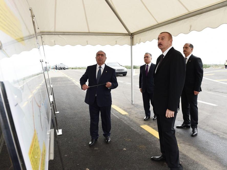 Президент Ильхам Алиев принял участие в открытии автомобильной дороги Имишли-Отузики-Гарагашлы - ФОТО