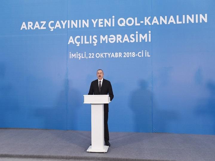 İmişlidə Araz çayının yeni qol-kanalının açılış mərasimi keçirilib - FOTO