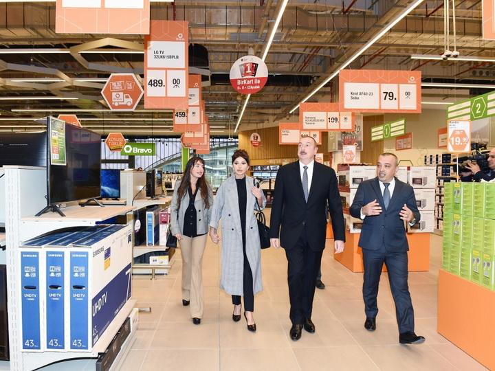 Президент Ильхам Алиев принял участие в открытии нового гипермаркета - ФОТО