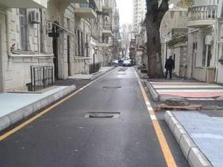 В Баку улицу с 5-метровыми тротуарами сделали еще и разноцветной – ФОТО