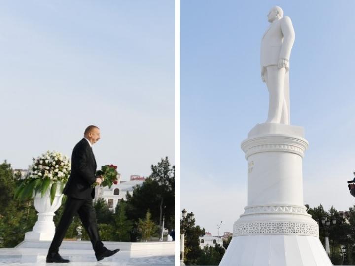 Президент Ильхам Алиев прибыл в город Сумгайыт - ФОТО