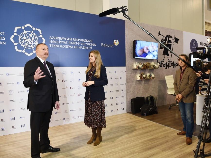 Президент Азербайджана Ильхам Алиев ознакомился с выставкой «Bakutel-2018» - ФОТО - ВИДЕО