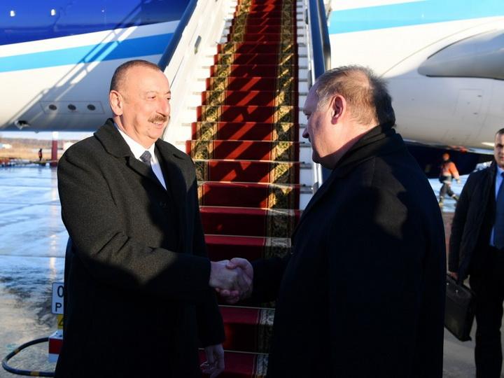 Президент Ильхам Алиев прибыл с рабочим визитом в Россию - ФОТО