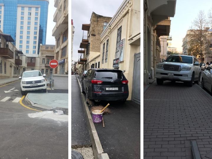 Безобразие в центре Баку: Водители продолжают влезать на отремонтированные тротуары – ФОТОФАКТЫ