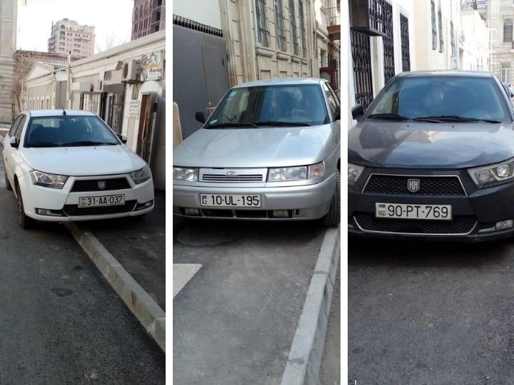 Безобразие продолжается: Отремонтированные тротуары в центре Баку стали удобной парковкой для водителей – ФОТОФАКТЫ