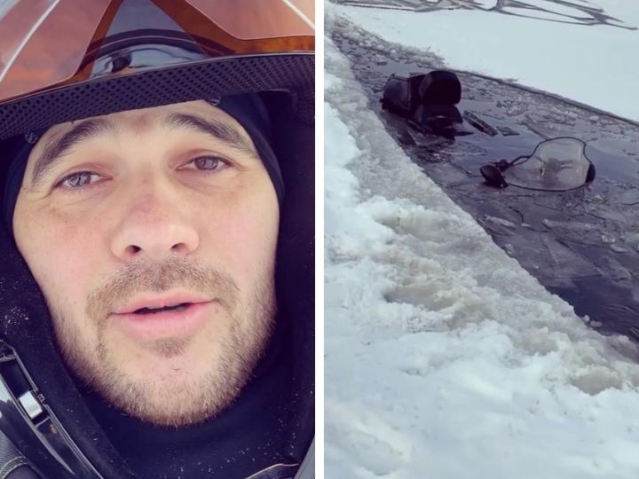 EMIN с друзьями провалился под лед на снегоходах – ВИДЕО
