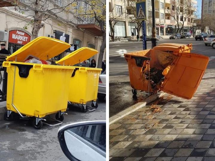 Подробно: Кто сжег в Баку новый мусорный контейнер? – ФОТО – ОБНОВЛЕНО