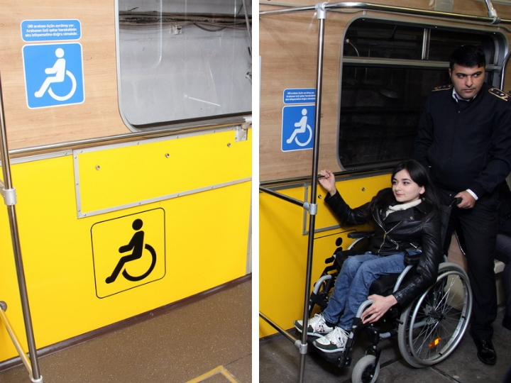 Новинка в Бакметрополитене: Для инвалидов выделены свои места в вагонах - ФОТО