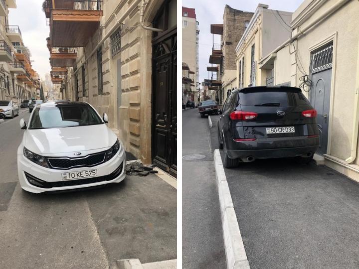 «Что же вам еще нужно?»: В центре Баку водители, имея недорогое место на парковке, все равно лезут на тротуары – ФОТОФАКТ